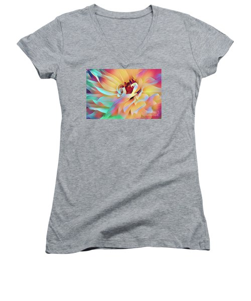 Party Time Dahlia Abstract Women's V-Neck
