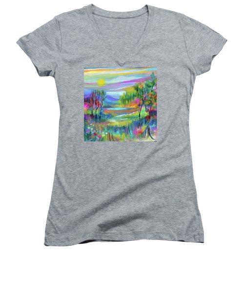 Pastel Landscape Women's V-Neck