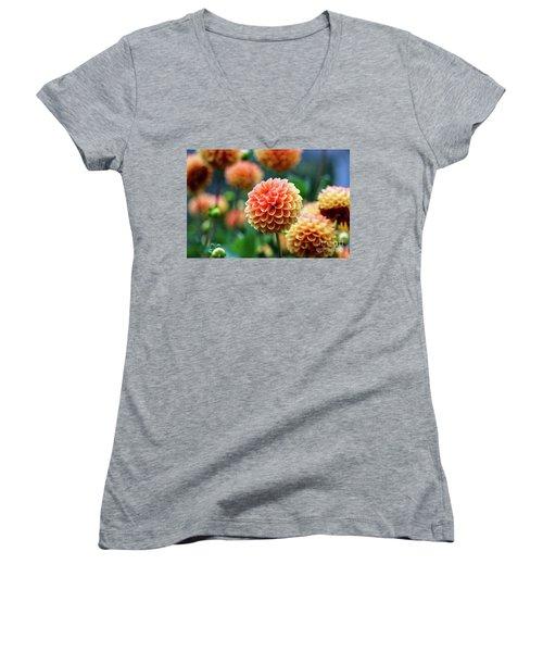 Peach Dahlias Women's V-Neck