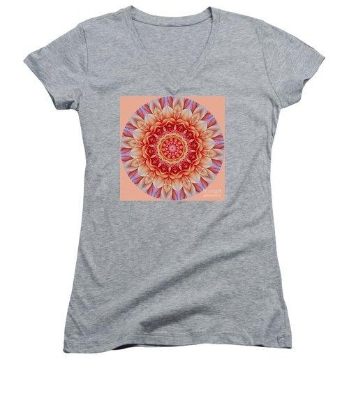 Peach Floral Mandala Women's V-Neck