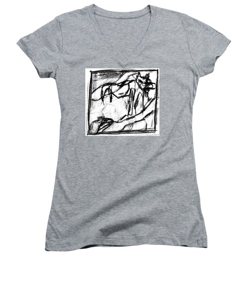 Pencil Squares Black Canine B Women's V-Neck