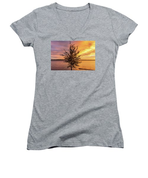 Percy Priest Lake Sunset Young Tree Women's V-Neck