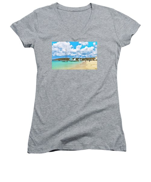 Picture Perfect Day For Sailing In Anguilla Women's V-Neck