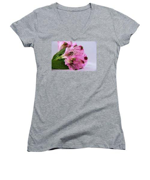 Pink Alstroemeria-4 Women's V-Neck