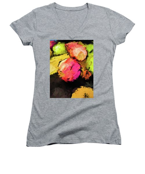 Pink And Green Apples With The Yellow Banana Women's V-Neck (Athletic Fit)
