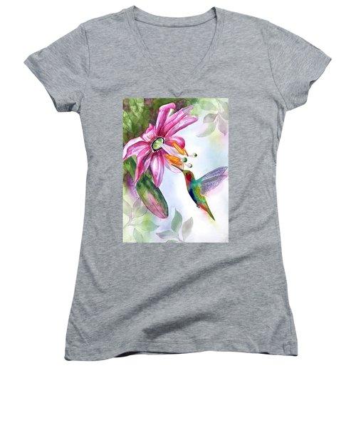 Pink Flower For Hummingbird Women's V-Neck
