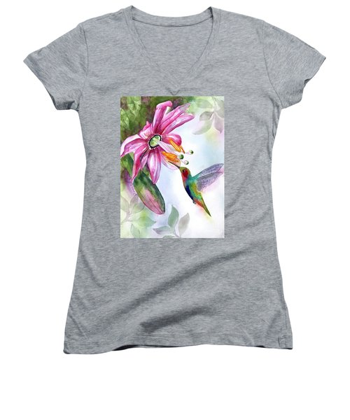 Pink Flower For Hummingbird Women's V-Neck