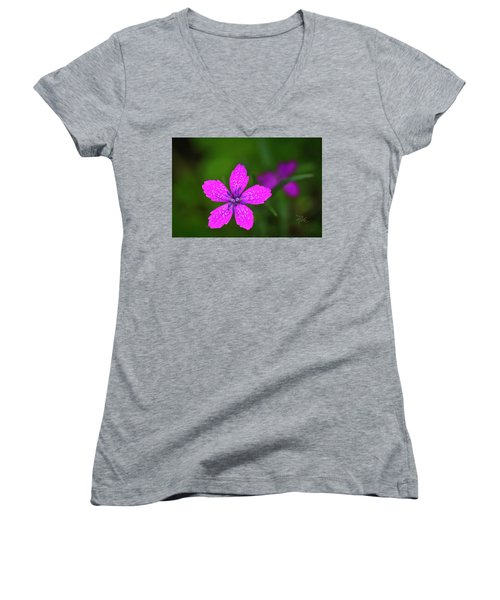 Pink Flower Women's V-Neck