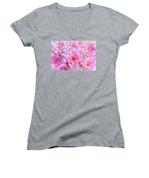 Pink Flowers Everywhere Women's V-Neck