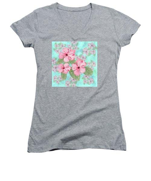 Pink Hibiscus Print On Aqua Women's V-Neck