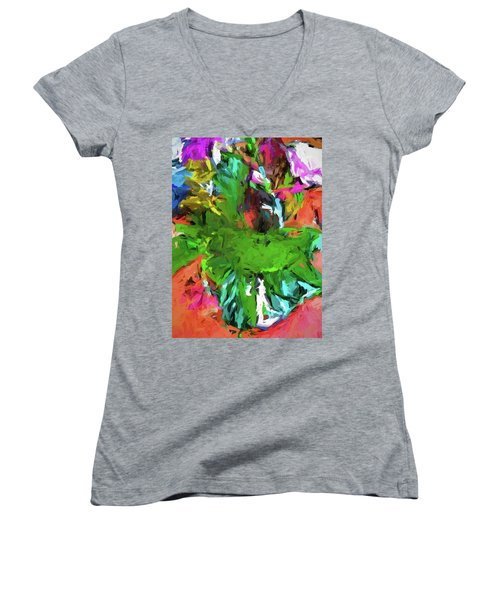 Plant With The Green And Turquoise Leaves Women's V-Neck (Athletic Fit)
