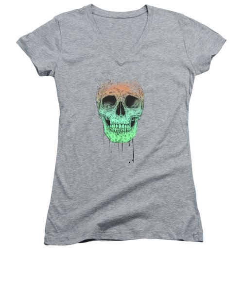 Pop Art Skull Women's V-Neck