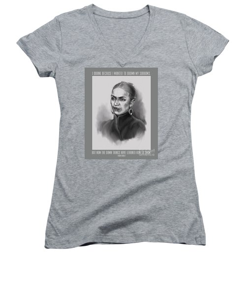 Portrait Of Frida Kahlo Women's V-Neck