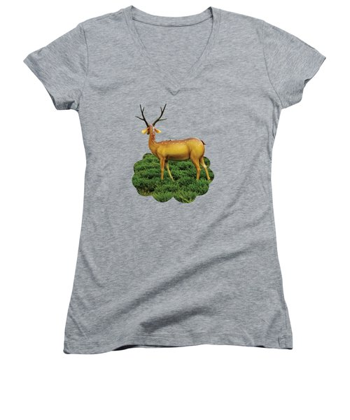 Pretty Deers Playing In The Forest. Women's V-Neck (Athletic Fit)