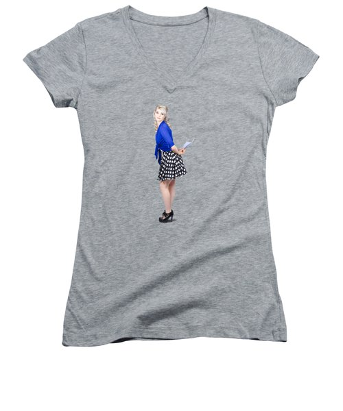 Pretty Housewife With Washing Cloth. Clean Style Women's V-Neck