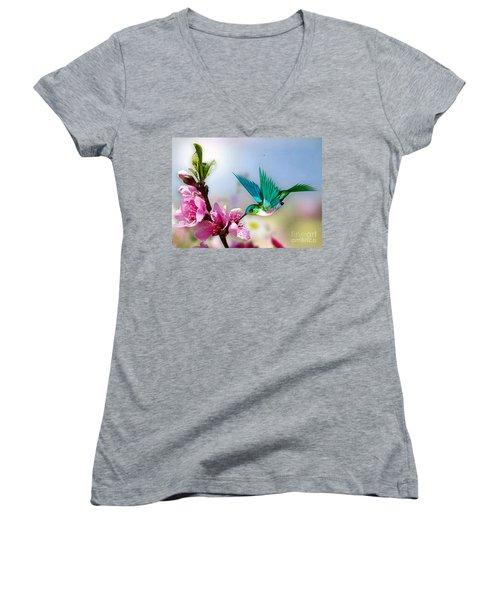 Pretty Hummingbird Women's V-Neck