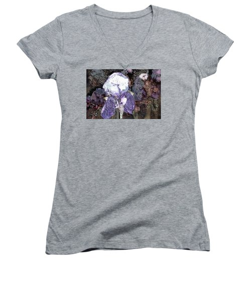 Purple Bearded Iris Women's V-Neck
