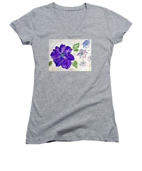 Purple Flower Women's V-Neck
