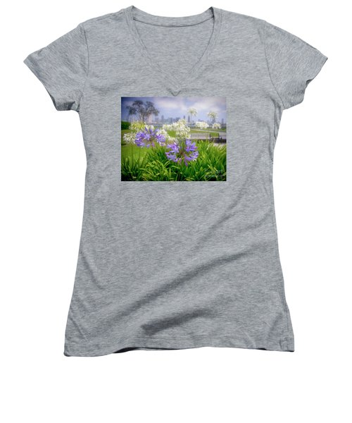 Purple Flowers In San Diego Women's V-Neck