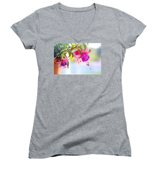 Purple Flowers Women's V-Neck