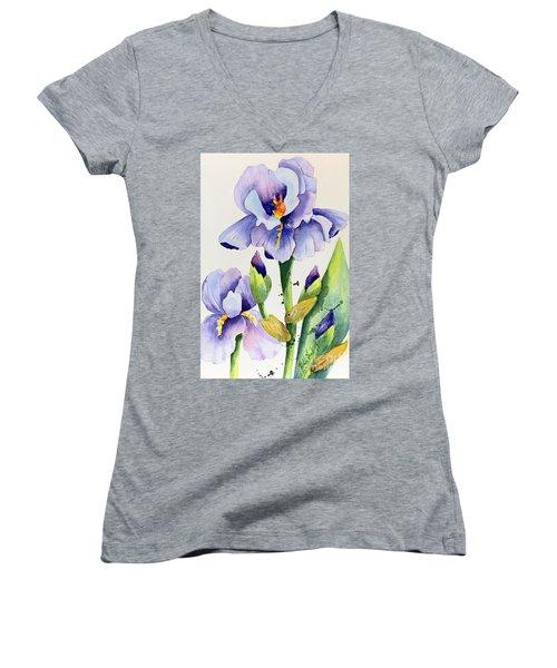 Purple Iris And Buds Women's V-Neck