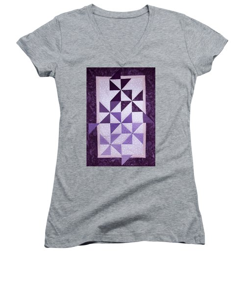 Purple Pinwheels Pirouetting Women's V-Neck