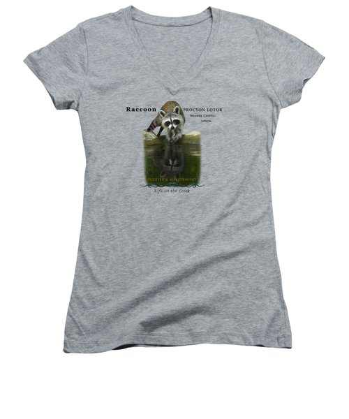 Raccoon Puzzler And Mastermind Women's V-Neck