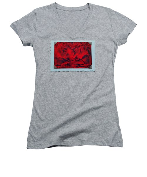 Red And Black Encaustic Abstract Women's V-Neck