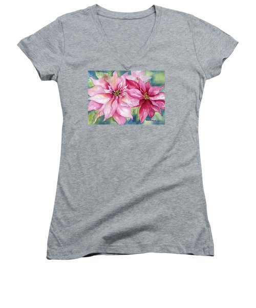 Red And Pink Poinsettias Women's V-Neck