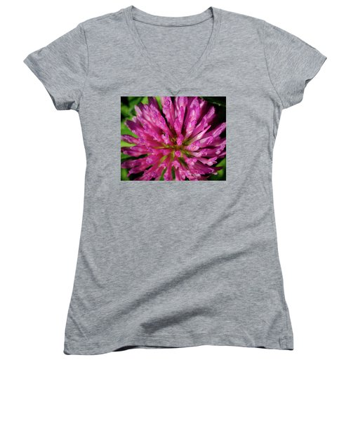 Red Clover Flower Women's V-Neck