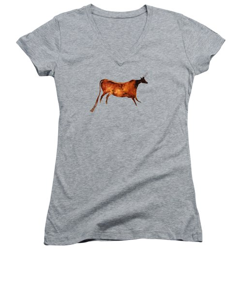 Red Cow In Beige Women's V-Neck (Athletic Fit)