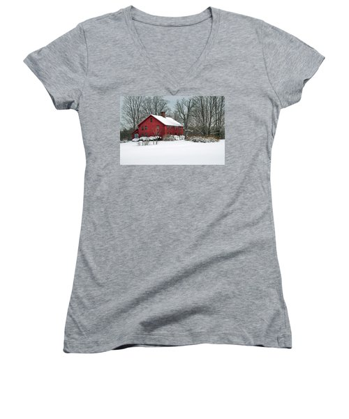 Red New England Colonial In Winter Women's V-Neck