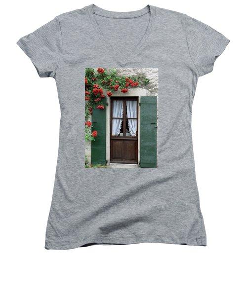 Red Rose Door Women's V-Neck
