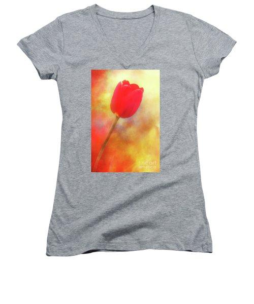 Red Tulip Reaching For The Sun Women's V-Neck