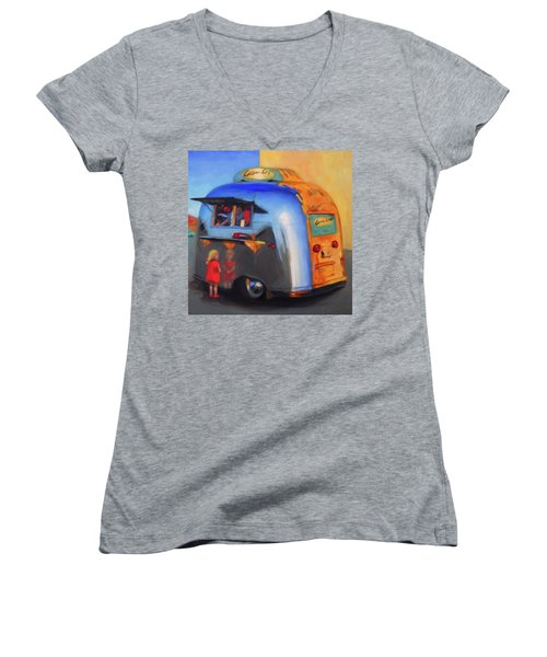 Reflections On An Airstream Women's V-Neck