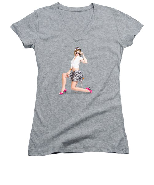 Retro Brunette Pin Up Girl In Sixties Fashion Women's V-Neck