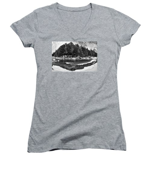 Women's V-Neck featuring the photograph River Bend, Rocky Gorge 2 N H by Michael Hubley