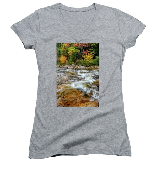 Women's V-Neck featuring the photograph River Cross, Swift River Nh by Michael Hubley