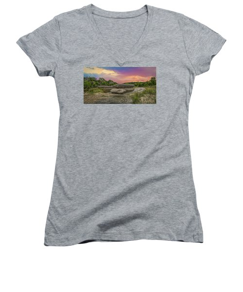 River Erosion At Sunset Women's V-Neck