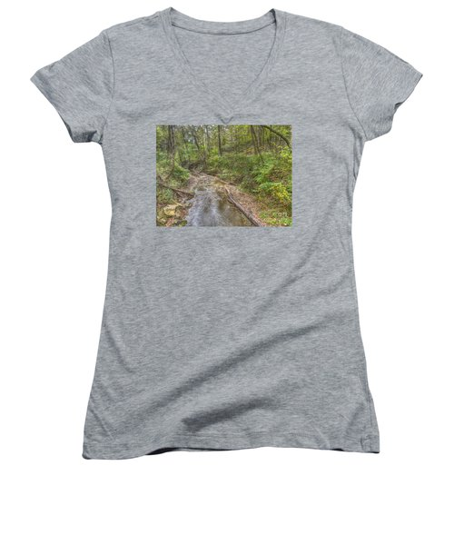 River Flowing Through Pine Quarry Park Women's V-Neck