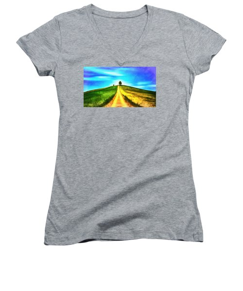 Women's V-Neck featuring the painting Road Of Life by Harry Warrick