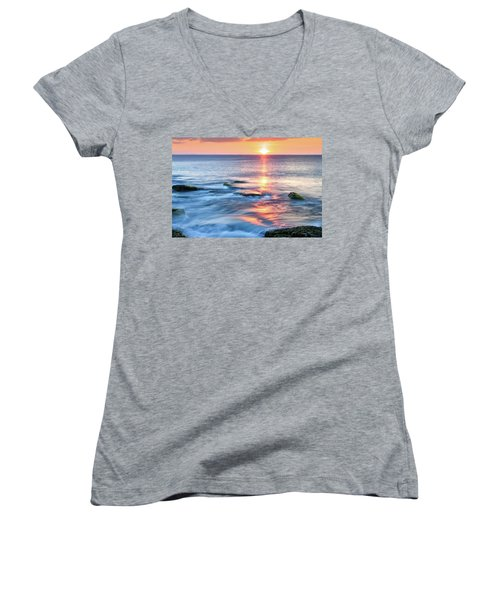 Women's V-Neck featuring the photograph Rockport Pastel Sunset Ma. by Michael Hubley