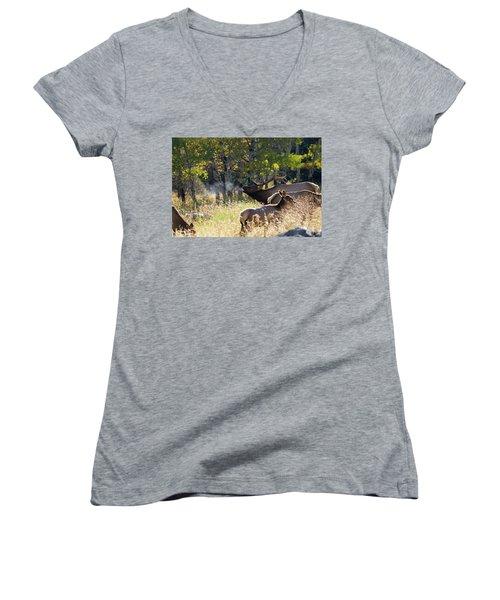 Rocky Mountain Bull Elk Bugeling Women's V-Neck