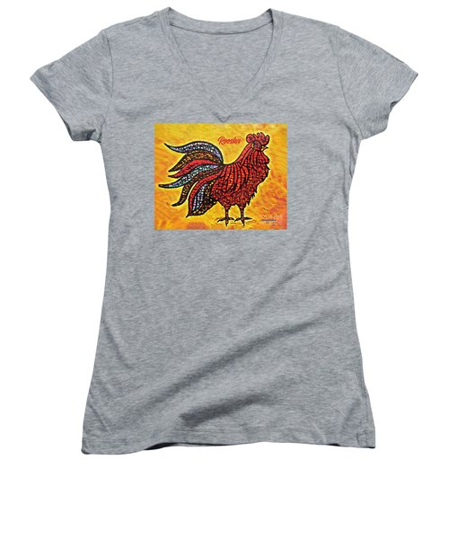 Rooster In The Moring Women's V-Neck