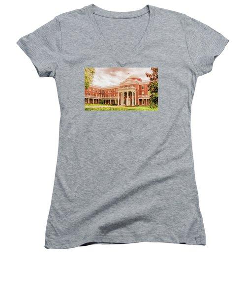 Rotunda Building Longwood University In Farmville Virginia Women's V-Neck