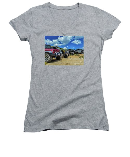 Row Of Jeeps Women's V-Neck