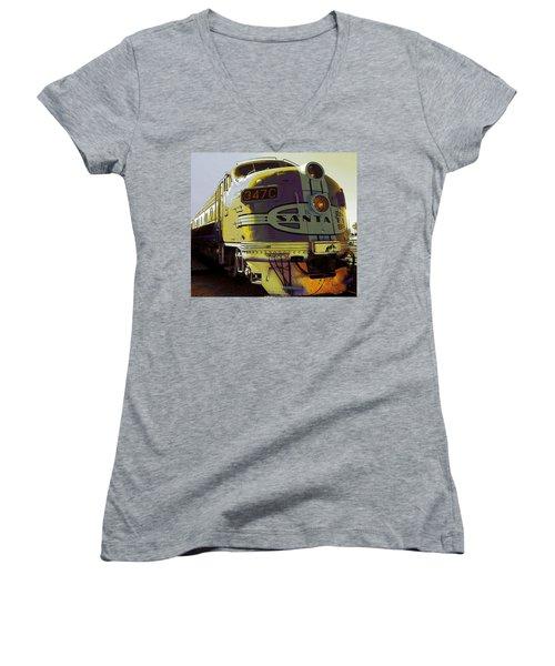 Santa Fe Railroad 347c - Digital Artwork Women's V-Neck