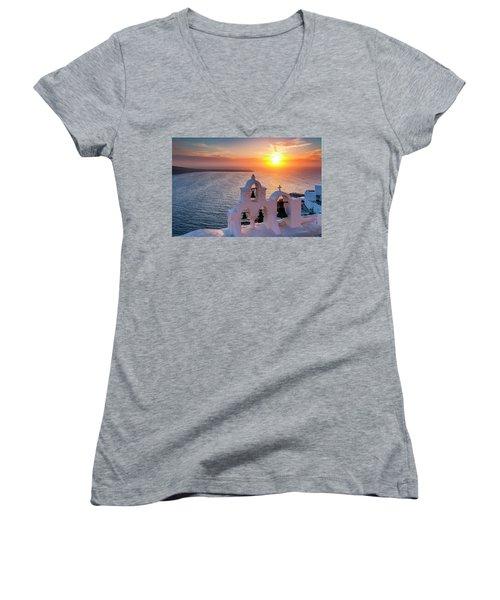 Santorini Sunset Women's V-Neck