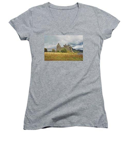 Scotland. Loch Awe. Kilchurn Castle. Women's V-Neck
