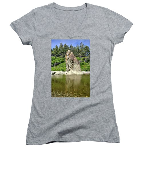 Sea Stack At Ruby Beach  Women's V-Neck